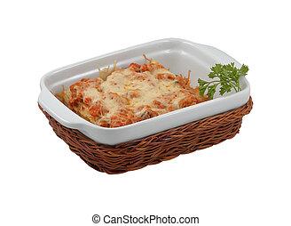 kosár, vesszőfonás, lasagna, finom