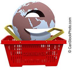 kosár, világ, bevásárlás, ecommerce