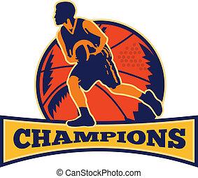 kosárlabda, csöpögő, játékos, labda, retro, bajnokok