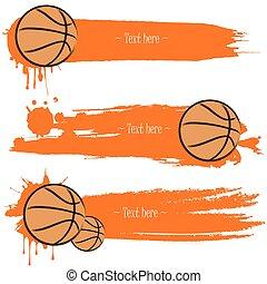 kosárlabda, grunge, kezezés letesz, húzott, szalagcímek