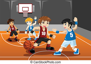 kosárlabda, játék, gyerekek