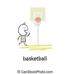 kosárlabda, karikatúra, ember