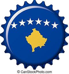 kosovo, nemzeti, cap., ábra, lobogó, vektor, palack