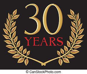 koszorú, arany-, 30, borostyán, év