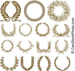 koszorú, borostyán, állhatatos, bronz, vektor