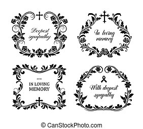koszorú, vektor, állhatatos, szüret, temetés, keret, gyászjelentés