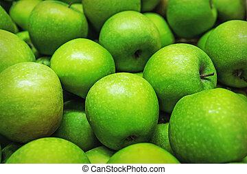 kovácsol, apples., zöld, horizontal., háttér, nagymama