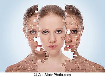 kozmetikai, bőr, előbb, care., arc, hat, bánásmód, nő, után, eljárásmód, fogalom, fiatal