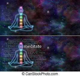 kozmikus, elmélkedés, chakra