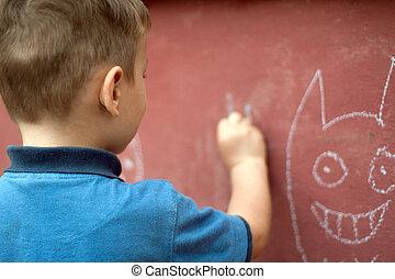 kréta, fiú, kevés, rajz