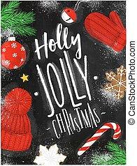 kréta, poszter, karácsony, magyal, vidám
