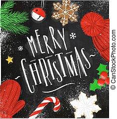 kréta, poszter, karácsony, vidám