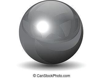 króm, gömb, vektor, fémből való