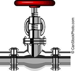 króm, ipari, szelep, vektor, piros