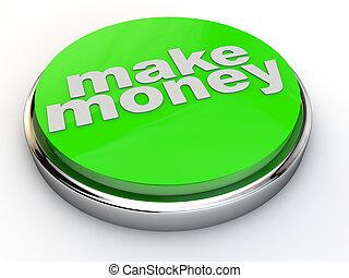 króm, pénz, felett, zöld, gombol, háttér, fehér, csinál