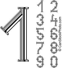 króm, pipa, vektor, számok, abc