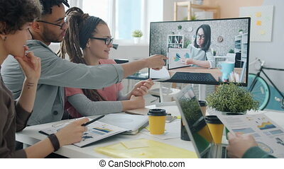 kreatív, át, kommunikáció, birtoklás, online, számítógép, befog, hivatal, üzletasszony