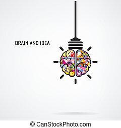 kreatív, agyonüt, gumó, fény, gondolat, fogalom