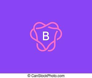 kreatív, b betű, monogram, címer, jel, vektor, lineáris, abc, keret, levél, jelkép., logotype., ikon, általános