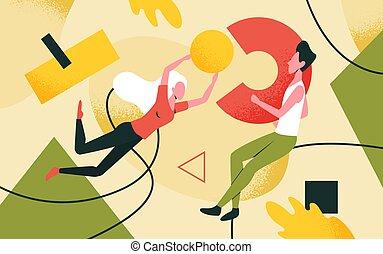 kreatív, emberek, kibogoz, alakít, birtok, alkot, számolás, megoldások, probléma, elvont