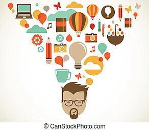 kreatív, fogalom, tervezés, gondolat, újítás