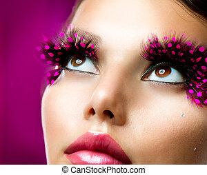 kreatív, makeup., hamis szempilla