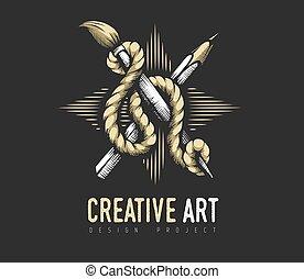 kreatív, rope., embléma, címertani, ceruza, concept., ecset, művészet