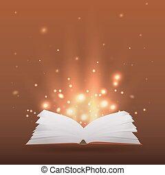 kreativitás, könyv, pattog, küllők, nyílik, -e, ábra, fény