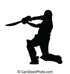 krikett, árnykép, repülőgép leszállását zászlóval irányító személy, -, csapó, ütés, sport, föld