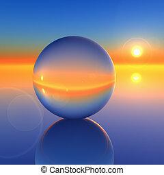 kristály, elvont, labda, jövő, horizont