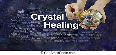 kristály, felhő, transzparens, gyógyulás, szó