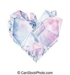 kristály, grafikus, szív