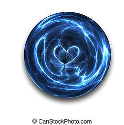 kristály labda, szív