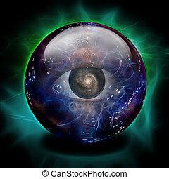 kristály labda, szem, galaktika