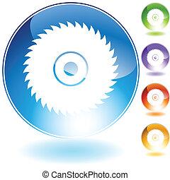 kristály, penge, fűrész, kör alakú