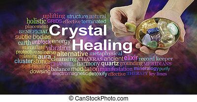 kristály, szó, gyógyulás, felhő