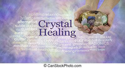 kristály, transzparens, gyógyulás, szó, felhő