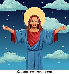 krisztus, áldott, jézus, háttér, éjszaka, vallásos
