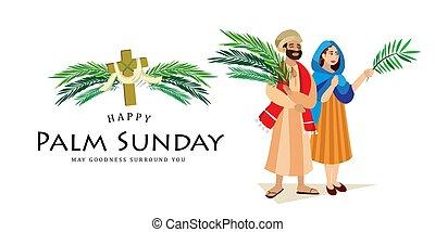 krisztus, belépés, nő, ünnep, húsvét, emberek, zöld, ábra, ünneplés, jézus, jeruzsálem, vallás, vasárnap, vektor, pálma, köszöntések, ember, pálma, boldog, előbb