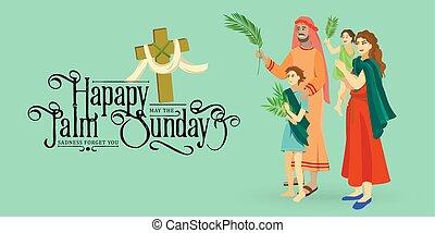 krisztus, belépés, nő, ünnep, húsvét, emberek, zöld, ábra, ünneplés, jézus, jeruzsálem, vallás, vasárnap, vektor, pálma, köszöntések, kölyök, pálma, boldog, előbb