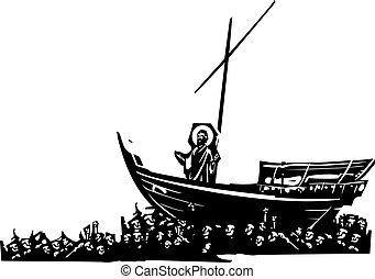 krisztus, csónakázik
