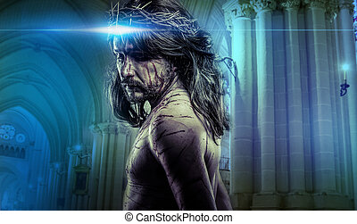 krisztus, fejtető, jézus, kálváriadomb, indulat, tövis, ábrázolás, ember, vérzés