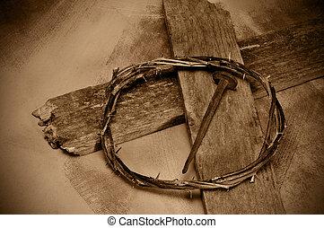 krisztus, fejtető, jézus, köröm, kereszt, tövis