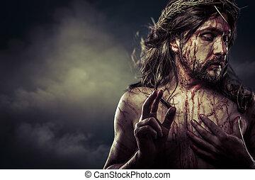 krisztus, fejtető, jézus, kereszt, tövis, fehér, húsvét, spanyolország