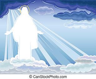krisztus, feltámadás, emelkedett, -