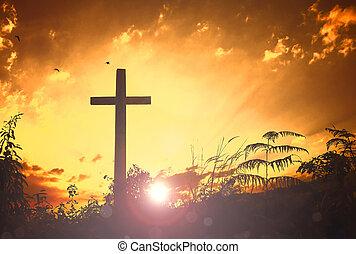 krisztus, isten, jelkép, kereszt, jézus, templom, üdvözítés, concept: