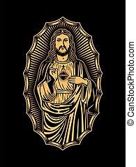 krisztus, jézus, fekete, ábra, vektor