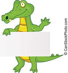 krokodil, üres cégtábla