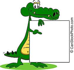 krokodil, karikatúra, aláír