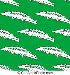 krokodil, zöld, seamless, motívum